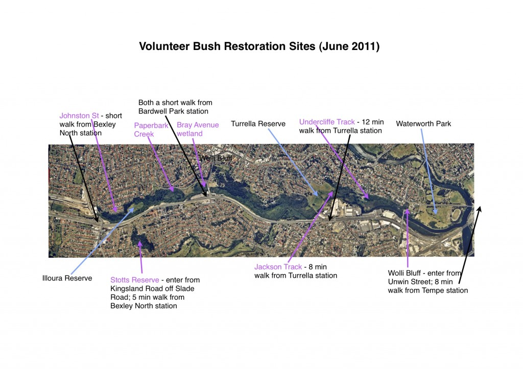 Map of Bushcare work sites