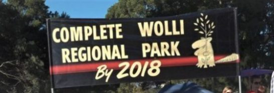 banner with text Complete Wolli Regional Park by 2018